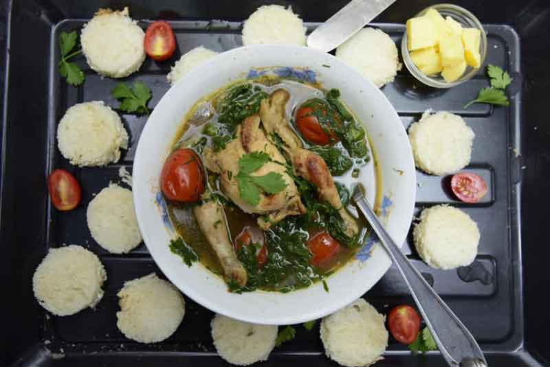 Chicken soup with greens recipe