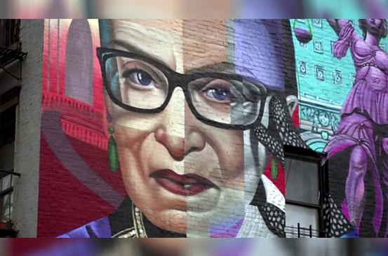 Gender discrimination warrior Ruth Bader Ginsburg celebrated with mural