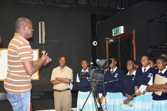 Ali Manzu, KTN News Anchor, talks to the Nakuru Girls' High School.