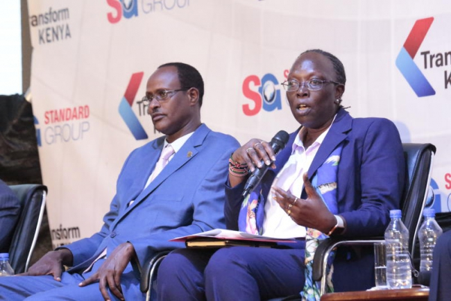 Principle secretary state department of industry Betty Maina(right) and Executive Director at the Anti-counterfeit Authority Elema Halake