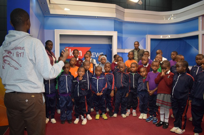 Pupils of Goodrich Academy at our KTN News Studio.