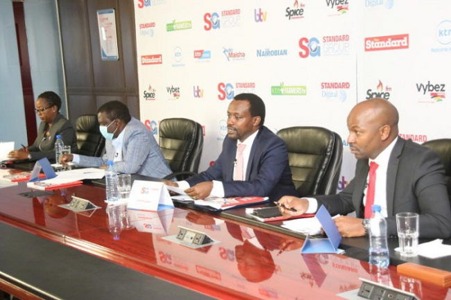 From left Standard group Company secretary Millicent Ng'etich,Deputy Chairman Julius Kipngetich,Standard Group CEO Orlando Lyomu and  chief finance officer Joseph Kiruri  during the Standard Group PLC