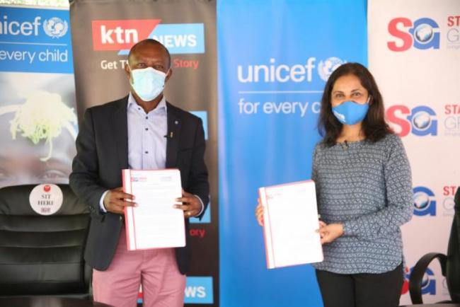 Standard Group Plc CEO Orlando Lyomu and Unicef Kenya Country Representative Maniza Zaman