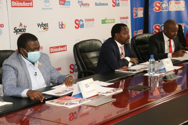 Deputy Chairman Julius Kipngetich,Standard Group CEO Orlando Lyomu and Standard Group chief finance officer Joseph Kiruri