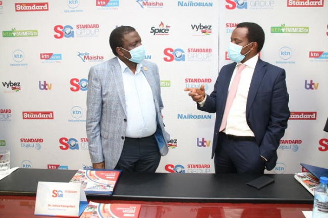 Deputy Chairman Julius Kipngetich and Standard Group CEO Orlando Lyomu  during the Standard Group PLC 102 Annual General Meeting 2020