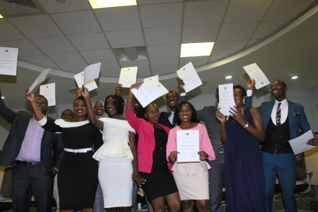 Standard media academy 2020 class graduands celebrate at the AgaKhan university