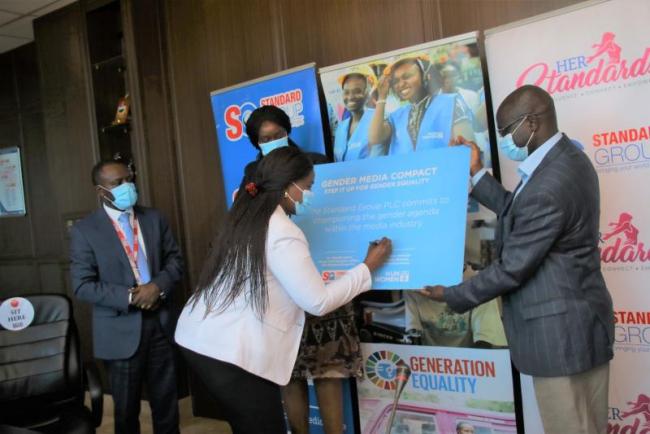 Country Drector United Nation Women Kenya Ann Mutavati  signing the partnership deal between  UN Women and Standard Group PLC