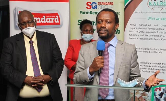 Director General Kenya Agricultural and Livestock Research Organization (KALRO) Dr Eliud Kireger (left) and CEO Standard Group Orlando Lyomu
