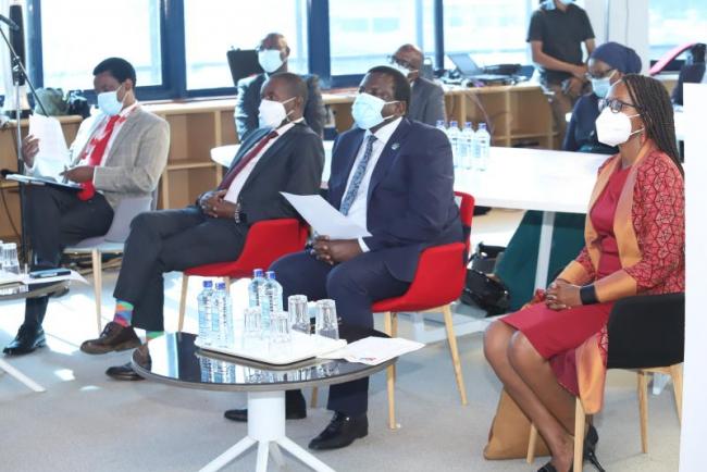 ICT Cabinet Secretary Joe Mucheru (center) flanked by Deputy Standard Group Board Chair Dr. Julius  Ng'etich MD Broadcast Joe Munene