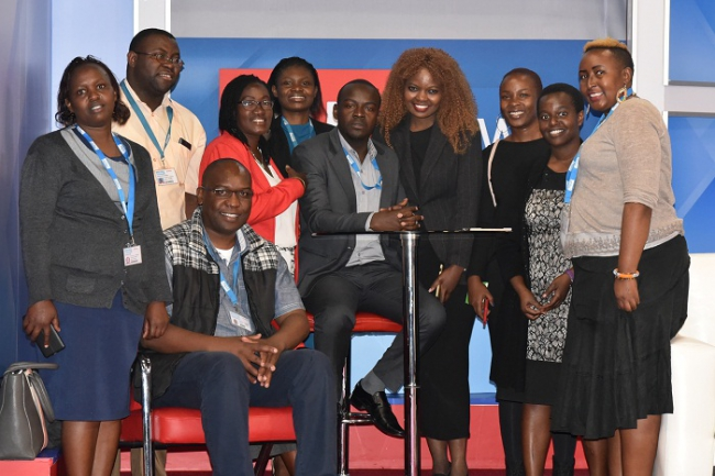 Daystar University students pose for a photo in our KTN studio.