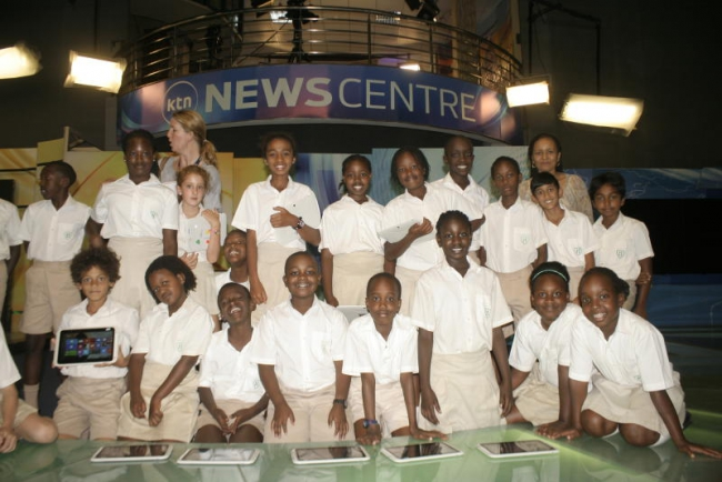 Hillcrest preparatory school students at Atrium Studio during a tour of the standard media group