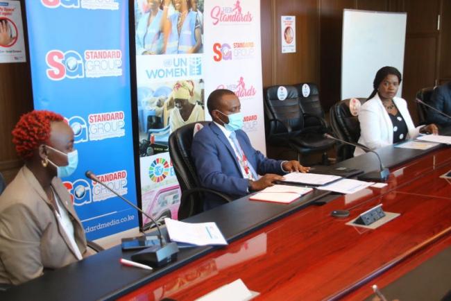 Standard Group CEO Orlando Lyomu and Country Director, United Nation Women Kenya Ann Mutavati after signing United Nation women and Standard Group partnership.