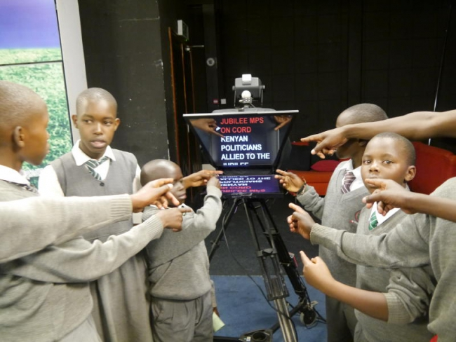Moi University Primary School pupils at the Standard Group studios during an academic tour to Standard Group Centre.