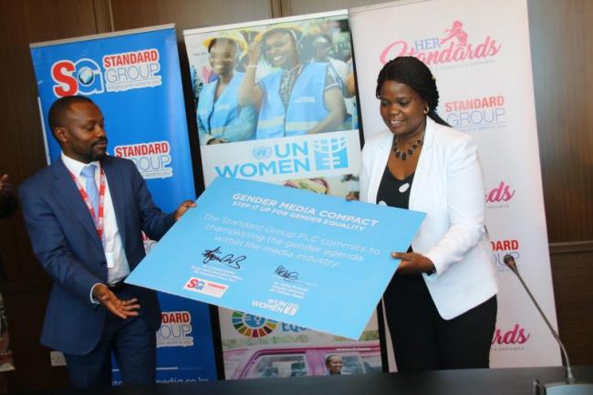 Standard Group CEO Orlando Lyomu and Country Director United Nation Women Kenya, Ann Mutavati