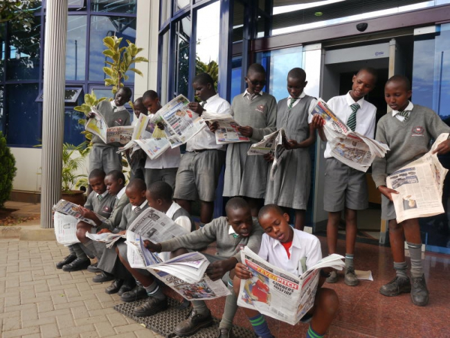 Moi University Primary School pupils visited Standard Group center along Mombasa Road