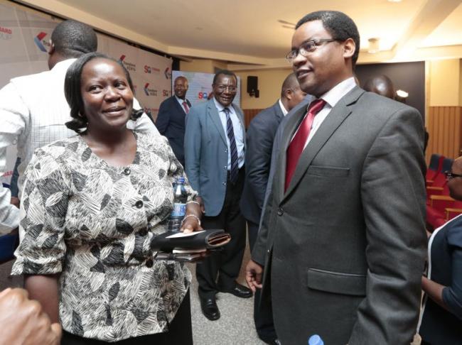 KICD deputy director Jacqueline Onyango(left) and KTN managing director Joe Munene during a transform Kenya forum