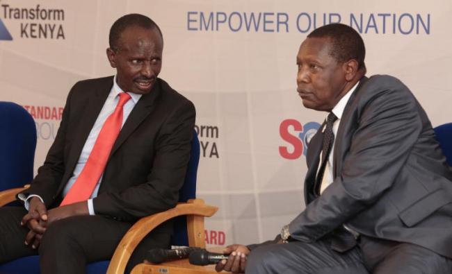 KNUT secretary general Wilson Sossion(left)CEMASTEA Director Stephen Njoronge during a Transform Kenya Forum