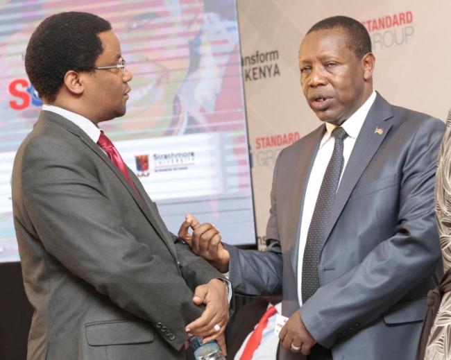 Ktn managing director joe Munene (left)CEMESTEA director Joseph Njoronge