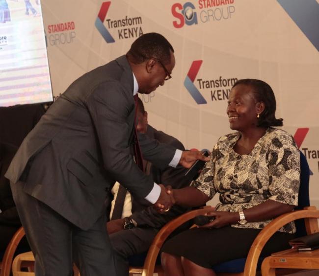 KICD deputy Director Jacqueline Onyango (right)and Chairman of Kenya publishers Association Lawrence Njagi