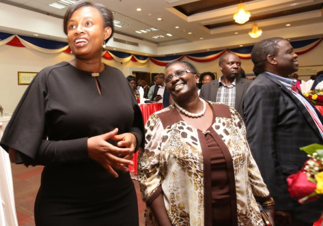 From left, Commercial Director Irene Kimani, CEC Trade Uasin Gishu County Dr Emily Kogo and Dr Julius Kipngetich, deputy board of directors chairman during Standard Group's stakeholder cocktail at Bom
