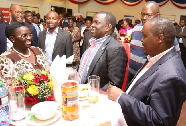 From left, CEC Trade Uasin Gishu County Dr Emily Kogo, Standard Group CEO Orlando Lyomu, Dr Julius Kipngetich (deputy board of directors) and Elgeyo Marakwet Governor Eng, Alex Tolgos during Standard