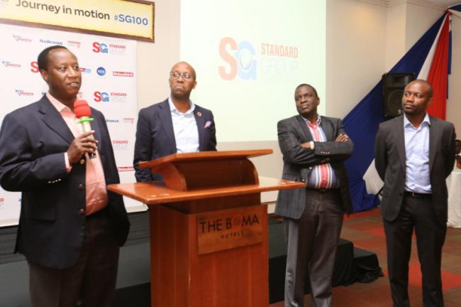 From right, Standard Group CEO Orlando Lyomu, Dr Julius Kipngetich (deputy chairman of board of directors), Dr Githinji Gitau (Independent- Non Executive Directors) and Mr Samuel L. Tiampati (right),
