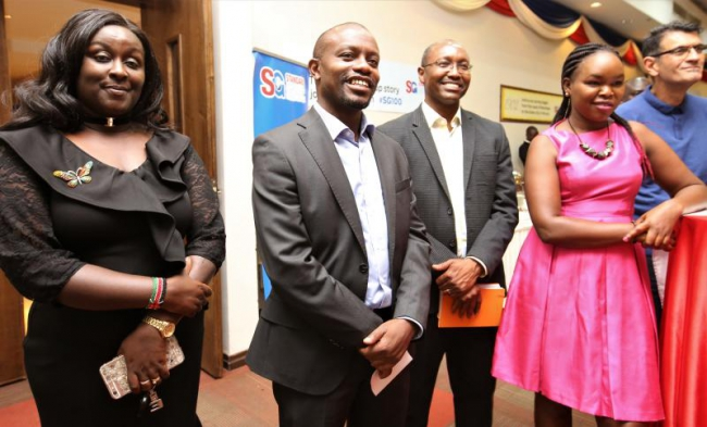 CEO Orlando Lyomu (second left) accompanied by Head of corporate Affairs Charles Kimathi and other senior staff during Standard Group Corporate cocktail — at Boma Inn Eldoret.