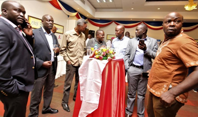 Standard Group staff and stakeholders during Standard Group stakeholder cocktail at Boma Inn