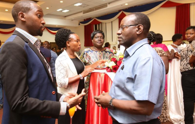 Administrative Manager Editorial Andy Kagwa speaks to some stakeholders and staff during Standard Group's cocktail at Boma Inn — at Boma Inn Eldoret.