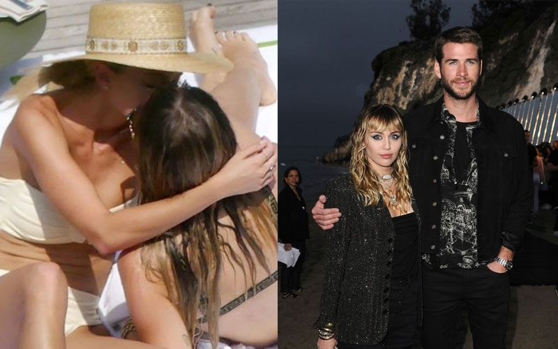 Miley Cyrus kisses woman after split from husband Liam Hemsworth