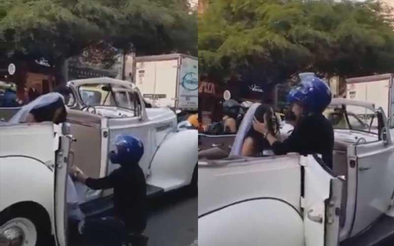 VIDEO: Biker pulls up to ex-girlfriend's wedding car, begs 'don't get married'