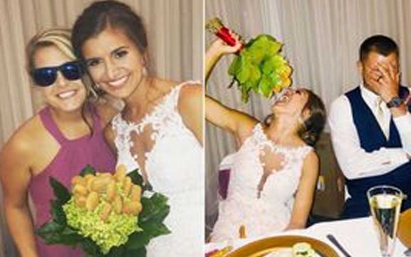 Maid-of-honour surprises bride with wedding bouquet made from chicken nuggets