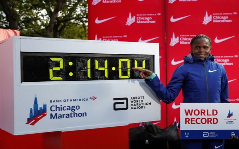Brigid Kosgei, youngest winner of the Chicago marathon, sets new record