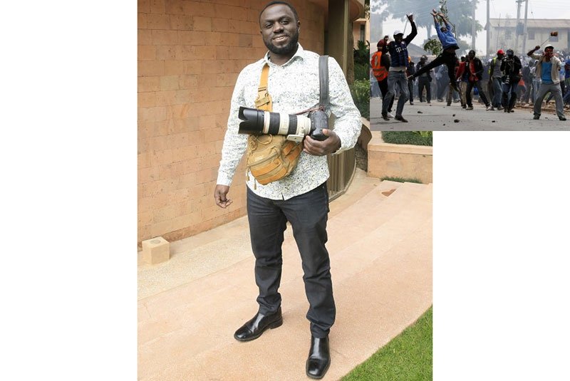 Meet Thomas Mukoya,photo journalist behind a 2017 photo of a protestor catching a teargas canister