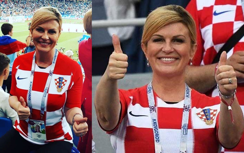 The best football fan? The world amazed by Croatia's female President's extreme support for national team