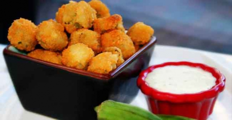 No meat tonight? Try this deep fried okra with eggplant dip