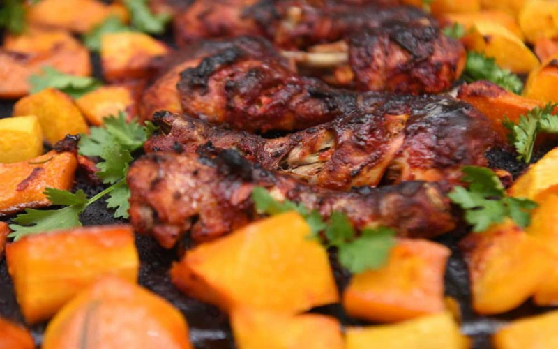 Easy recipe: Roasted butternut with tikka drumsticks