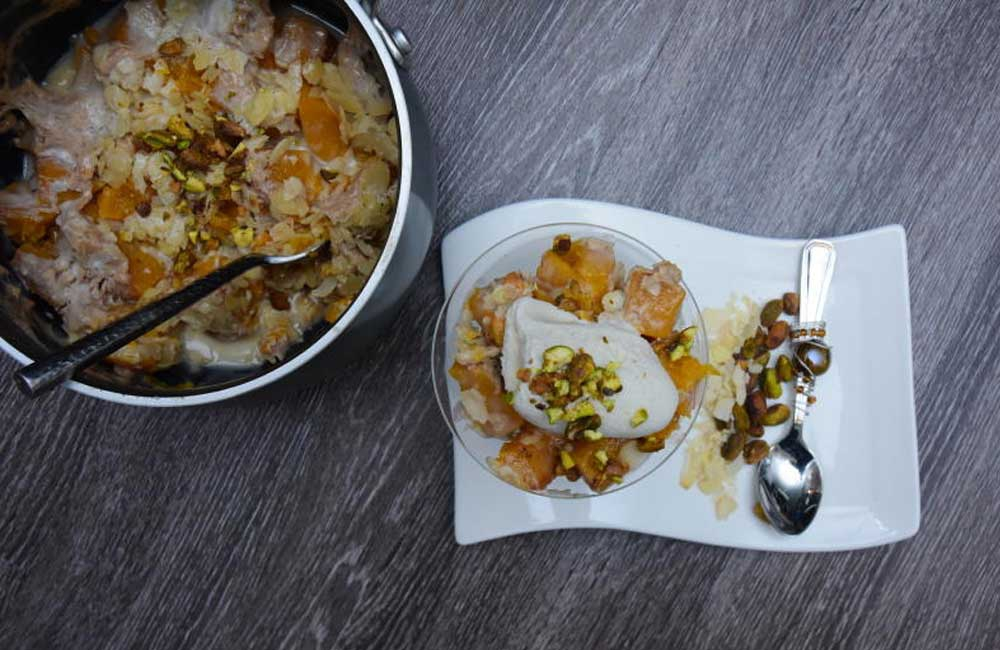 Easy recipes: Cinnamon butternut halwa dessert served with vanilla ice cream