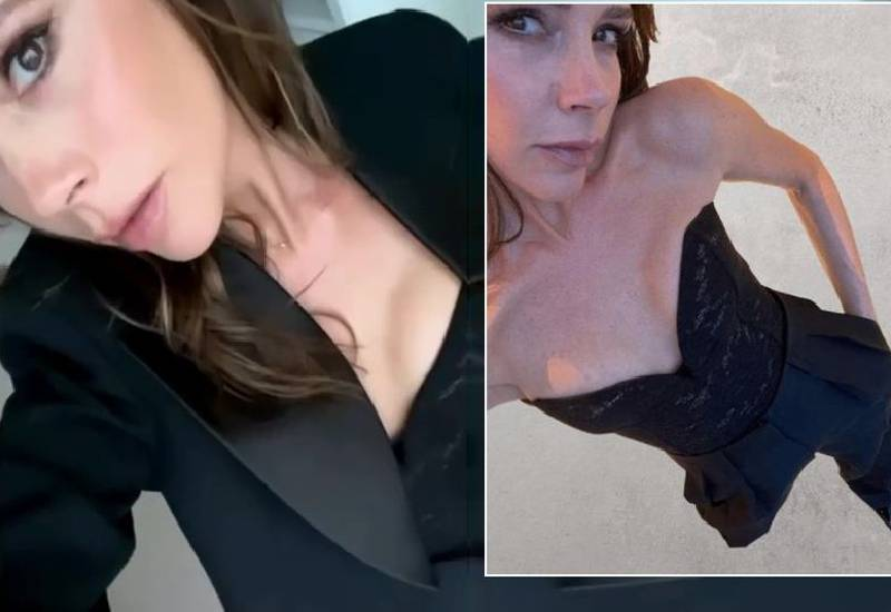Victoria Beckham models her own brand as she finds excuse to get dressed up at home