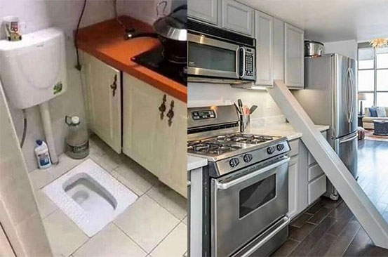 Bizarre flat has toilet in kitchen as social media photos reveal 'worst properties'