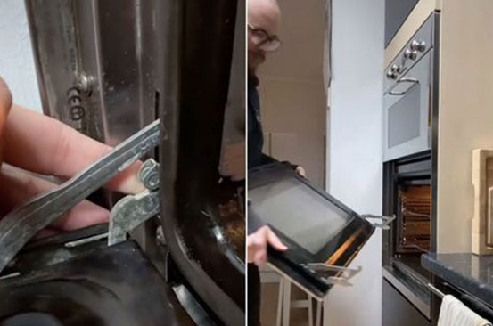 Man shares hidden oven feature so you can take the door off to clean it properly