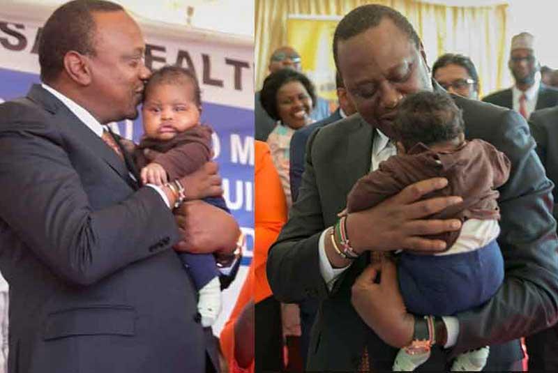 Just how cute is this!!!: President Uhuru Kenyatta warms hearts by cuddling a baby