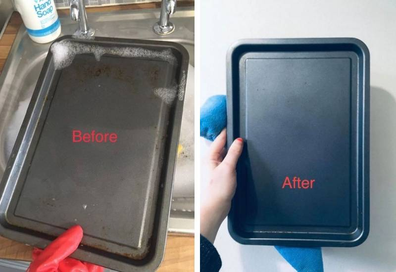Woman praised for cheap cleaning hack that makes stained baking trays look 'good as new'
