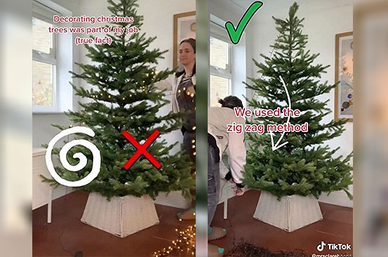 Woman shares 'correct' way to put lights on a Christmas tree but it sparks outrage