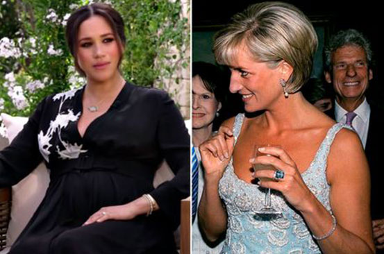 Meghan Markle wears Princess Diana's bracelet for Oprah interview alongside gift from Harry