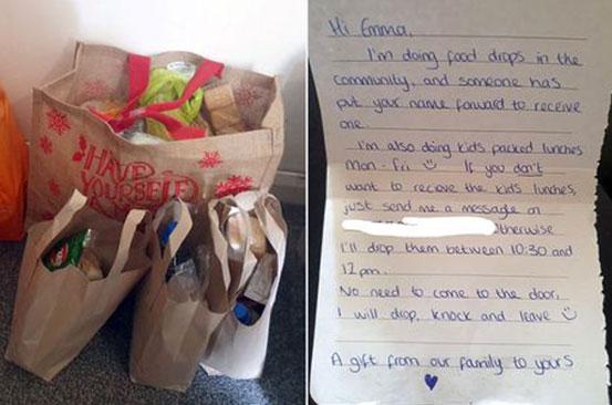 Mum moved to tears after kind-hearted stranger leaves meals for her kids on doorstep