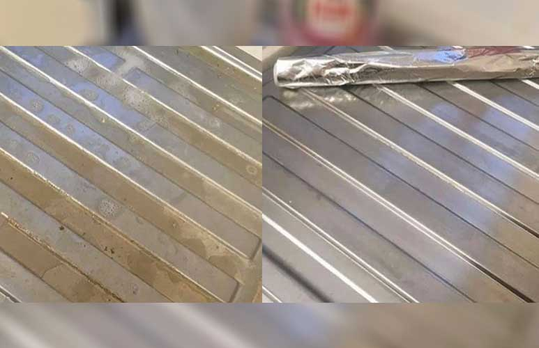 Woman removes stubborn grime from draining board using just tin foil