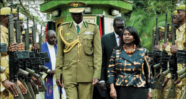 Environment Cabinet Secretary Prof Judy Wakhungu inspects a guard of honour mounted by KWS rangers during the Conservation Heroes Day at KWS headquarters.  [PHOTO: STANDARD]
