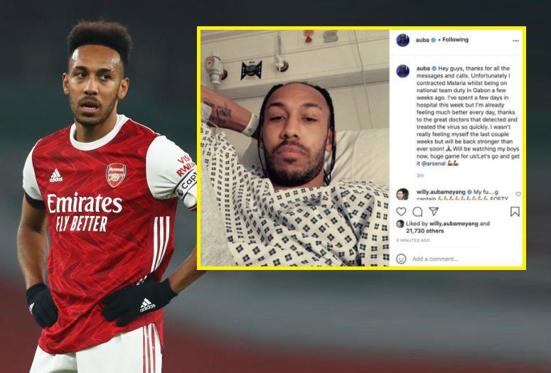 Arsenal's Aubameyang recovering from malaria in hospital