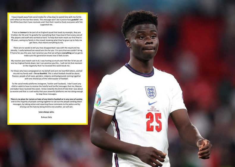 England's Saka urges social media companies to step up fight against abuse